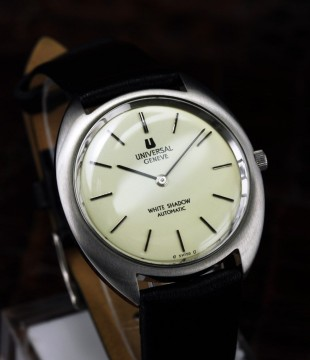 Auth Vintage Universal Geneve White Shadow Automatic Mens Swiss Wrist Watch for sale