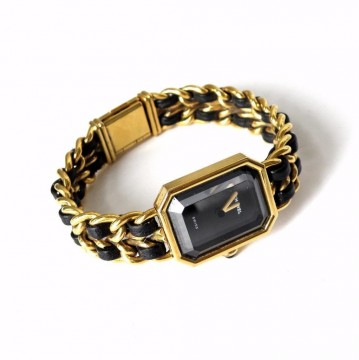 Chanel Womens Vintage 1987 Gold Plated Chain Black Leather Watch Wristwatch for sale