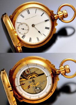 Massive 18K Rose Gold Box Hinge Waltham Double Dial Chronograph Pocket Watch for sale