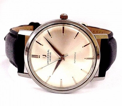 Vintage Universal Geneve 20375-1 Automatic Black Leather Band Mens Watch for sale