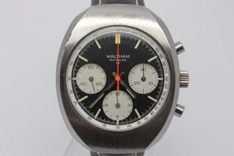 Vintage Waltham Large Chronograph Mens Watch Valjoux 7736 – Clean Black Dial for sale