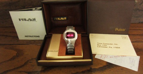 Boxed SS 1975 Pulsar Executive Time Computer P4 LED LCD Digital Retro watch. for sale