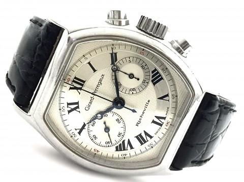 Girard-Perregaux Richeville 2710 Chronograph Leather Tonneau Steel Men's Watch for sale