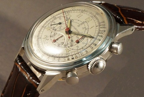 Rare 1940s Movado Stainless Steel Caliber 95M Chronograph Watch, Stunning for sale