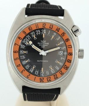 Vintage Glycine Airman SST GMT Automatic Watch Pumpkin Orange dial Concord for sale