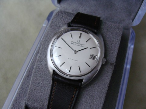 Vintage Universal Geneve White Shadow Date Automatic Stainless Steel Watch for sale