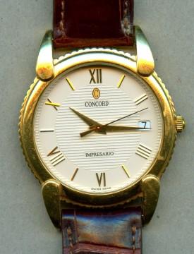 18 k Yellow gold Concord Impresario Swiss made Quartz watch for sale