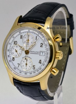 Hamilton 18k Yellow Gold Automatic Chronograph Mens Watch Box/Papers for sale