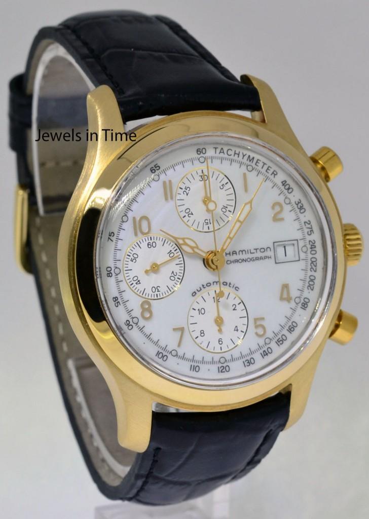 hamilton 18k yellow gold automatic chronograph mens