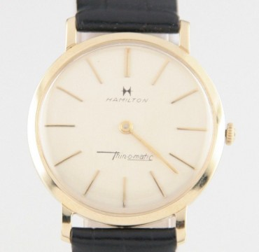 Hamilton Men's 14k Yellow Gold Vtg Thin o Matic Watch w/ Black Leather Band for sale
