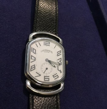 Hermes Paris Rallye Ra1.810 Stainless Steel, Hermes Black Leather band for sale