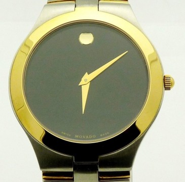 Men's Movado JURO Black Museum Dial 2 Tone Gold Stainless Steel Swiss Watch for sale