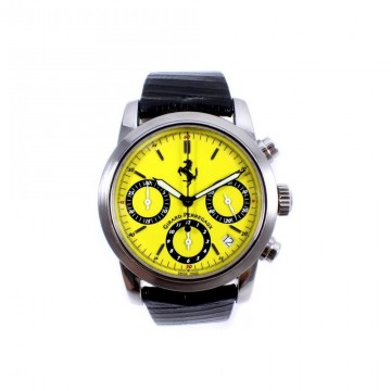 Mens Steel Girard Perregaux Ferrari Chronograph Watch 8020 Yellow Dial for sale