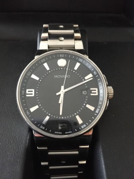 Movado SE Pilot Chronograph Dial Stainless Steel Black Face Men's Watch for sale