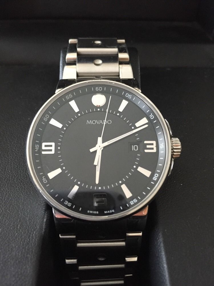 Movado Se Pilot Chronograph Dial Stainless Steel Black