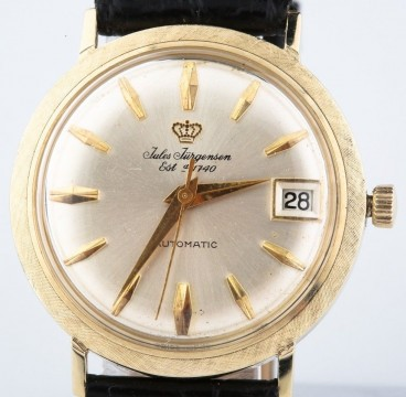 Vintage 14k Yellow Gold Men's Jules Jurgensen Automatic Watch w/ Leather Band for sale
