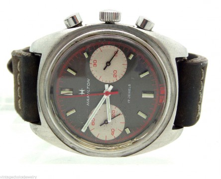 Vintage 1970's Hamilton Charcoal DIAL Chronograph Stainless Leather Watch BAND for sale