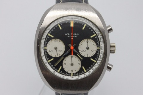 Vintage Waltham Large Chronograph Mens Watch Valjoux 7736   Clean Black Dial for sale
