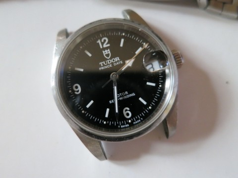 Authentic Tudor Prince Date Stainless Steel Automatic Watch 72000 Black Dial for sale