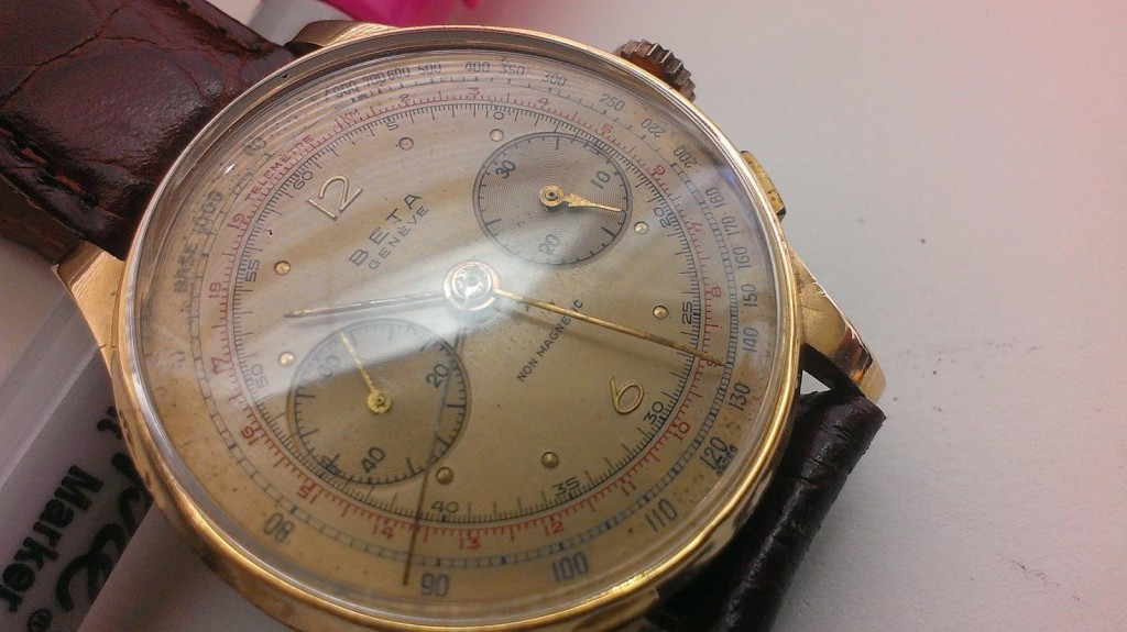 BETA Geneve 18K GOLD CASE Chronograph Manual Mens WATCH For Sale