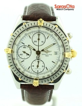 Breitling B13048 Chronomat Chronograph Two Tone Automatic Leather Men's Watch for sale
