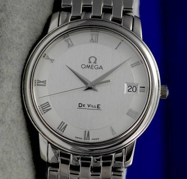 Mens Omega Deville Prestige SS Steel Watch   Silver Dial   4510.33 for sale