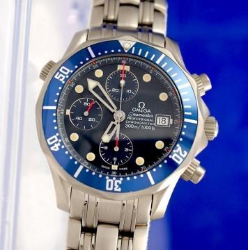 Mens Omega Seamaster Titanium Chronograph Watch   Blue Dial   2298.80 for sale