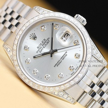 MENS Rolex Oyster Perpetual Datejust 18K White Gold/ss Silver Diamond WATCH for sale