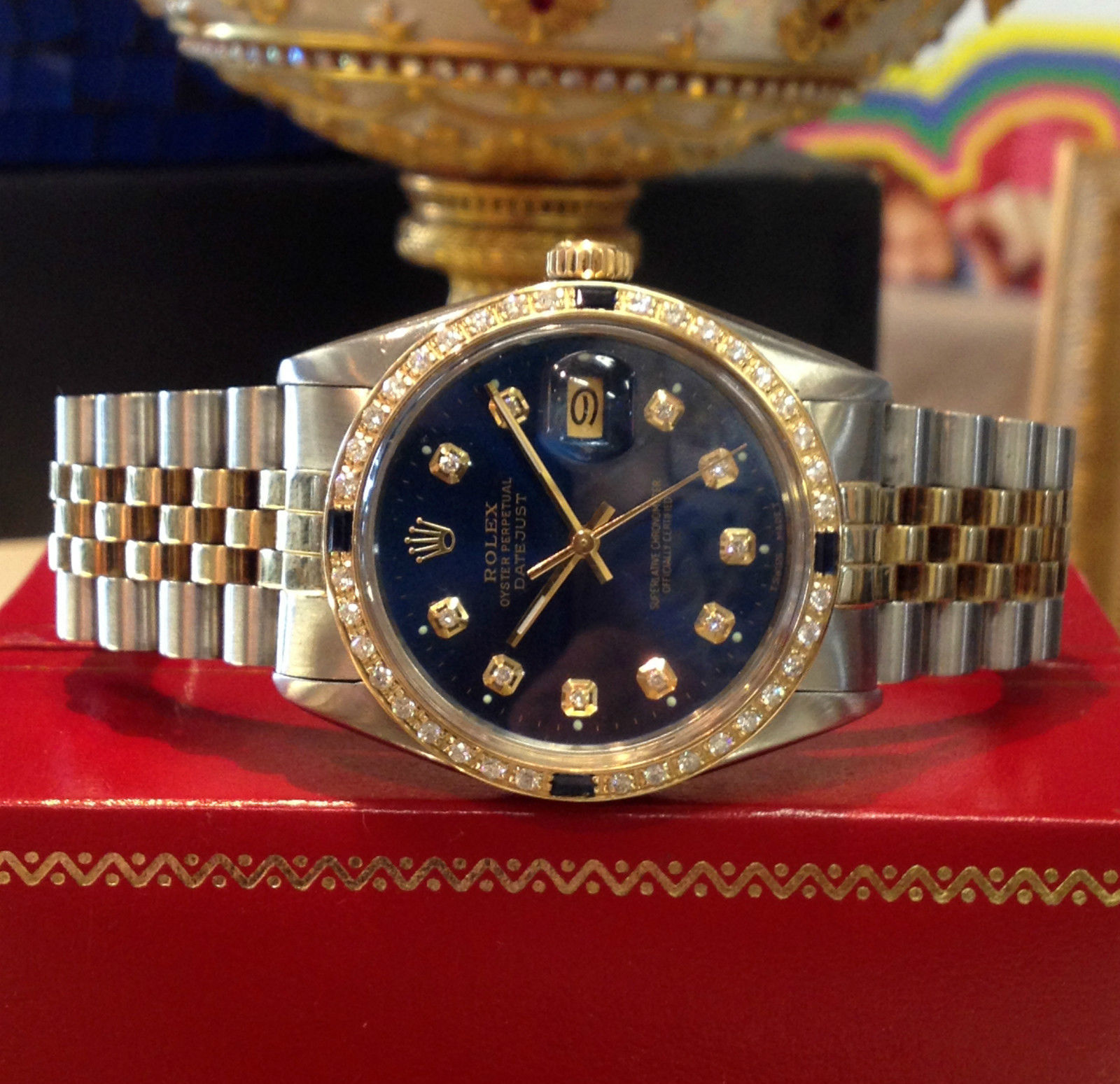 Mens Rolex Oyster Perpetual Datejust Diamonds Yellow Gold