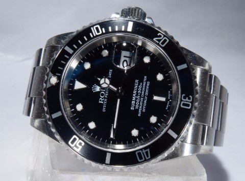 MENS Rolex Submariner Stainless Steel Black DIAL WITH DATE Oyster BAND 16610 for sale