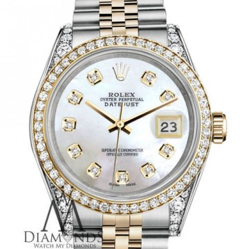 Rolex Stainless Steel Gold 36 mm Datejust Watch White MOP Color Diamond Dial for sale