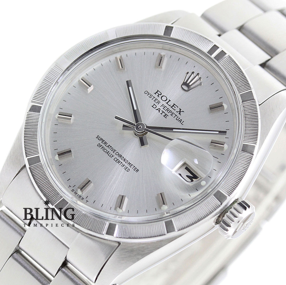 Vintage 34mm Mens Rolex Oyster Perpetual Date Stainless