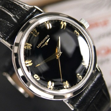Vintage Men's Longines Manual Winding 17 Jewels Black DIAL Analog Dress WATCH for sale