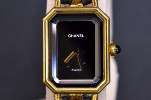 Auth Chanel Vintage Premiere L Gold Plated Black Leather Quartz Watch Ladies for sale