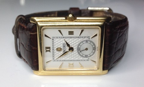 Estate Men's 18K Yellow Gold Concord Watch With Brown Leather Band 27 Grams for sale