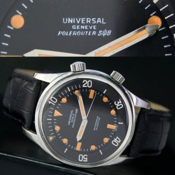 Vintage Universal Geneve Polerouter SUB Automatic Steel Mens Watch Black Radium for sale